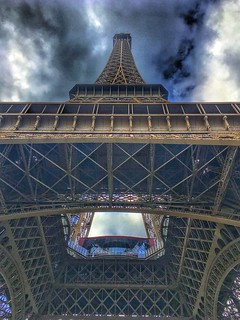 Paris France - Eiffel Tower - View upwards