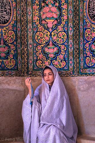 Muslim Woman Wearing Chandor, Nasir al-Mulk Mosque, Shiraz, Fars Province, Iran