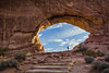 Sun rise at Arches (Silva Predalič) Tags: sky arches utah man sunrise morning arch unitedstates landscape stairs
