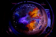 HMM in blue (M a r i S à) Tags: blackbackground water drop oil circle colours colorful light oildrops drops abstract macro blue fluid liquid round float abstrac macromondays theblues lowkey dimlight