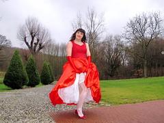 Stocking check (Paula Satijn) Tags: sexy hot upskirt legs stockings heels pumps lace petticoat girl lady red dress gown ballgown outside wind storm skirt satin silk silky happy joy smile gloves pretty beauty feminine girly elegant