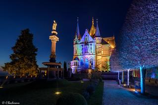 Blue hour meets illuminated castle Drachenburg (Germany)