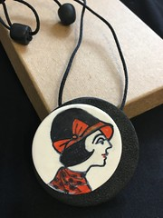 Modern Milly. (rosalindvernon1) Tags: modern milly drawing lady woman jewellery pendant necklace tracing polymer clay fimo kato decorative art deco illustration round
