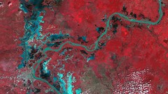 Phnom Penh and the Mekong Basin, Cambodia. (skaradogan) Tags: dmc dmcii ukdmc ukdmc2 dmc2 thedmcconstellation eo earthobservation nir nearinfrared satellitedata satelliteimages cambodia river clouds landscapes nature phnompenh mekongriver cities forest agriculture water lakes vegetation remotesensing gis mapping landcovermapping urban
