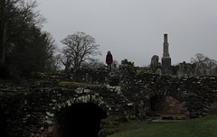 Dark Figure (music_man800) Tags: dark figure moody eerie spooky shady shadow shadowy atmosphere atmospheric gloom gloomy cloudy snowy january winter day evening fountains abbey york yorkshire uk united kingdom ruins historic history red coat candid person people arty artistic creative photography gimp gimp2 edit canon 700d roadtrip trees walls outdoors natural lighting contrast black grey gray