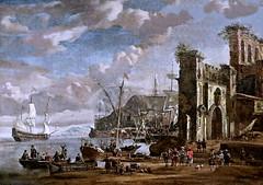 IMG_2216C Abraham Jean Storck 1644-1710 Amsterdam Port méridional. Southern Port Rouen Musée des Beaux Arts. (jean louis mazieres) Tags: peintres peintures painting musée museum museo france normandie rouen muséedesbeauxarts abrahamjeanstrock