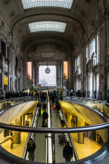 Nine o'clock (cs_one) Tags: arch building escalator architecturalelement people city architecturalphotography light trainstation milano hall interior travel symmetry architecture urban transitstation landmark marble railroadstation railwaystation