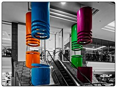 Shapes and Color (Bob Shrader) Tags: on1photoraw olympuspenf northisland photoborder on1photoraw2018 newzealand mft m43 mzuiko12100mmf40pro mirrorless microfourthirds shoppingmall shape selectivecolor zoomlens style retail postprocessing photoframe photoedge raw processingsoftware preset buildingfeatures australiaandoceania blackandwhite design escalator infrared dxophotolab dxoviewpoint auckland interior fauxinfrared