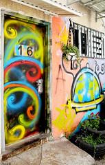 Aliens (Aviva B) Tags: city israel tel aviv florentin graffiti architecture door