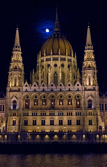 Budapest Parliament with Moon (pluffmud2010) Tags: budapest parliament danube night moon cityscape architecture river danuberiver cruise gate1 october 2017 canon 7d hungary tourism