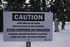 Avoid... (Solojoe) Tags: avoid graveyard sign snow winter warning stjoachimcemetery stjoachim edmonton alberta cemetery caution slippery skid