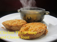 Chicken Thyme Soup and Cheese Toast (nadjadejong) Tags: food cooking cooked dinner homemade soup chicken thyme chickpeas olives laurel bouillon cheese toast