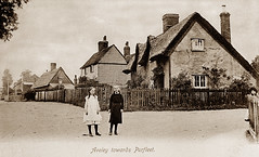 Aveley, Essex (footstepsphotos) Tags: aveley thatched road people children old vintage postcard past historic
