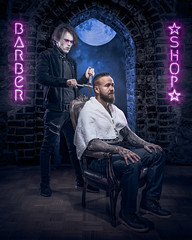 Just a Little Trim (Tortured Mind) Tags: 2470mmf28 54 finland kuopio suomi barber bearded blue bts d800 dark digitalart dslr fi fineart godox gothicart haircut homestudio horror humour lighting macabre man manfrotto moon night nikkor nikon photomanipulation photoshop portrait razor shop surreal zoom