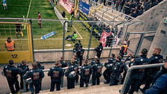 watching football during work time (relaxedhothead) Tags: samsung s7 edge photoshop grünwalder stadion münchen munich 1860 lions fcb bayern cops security
