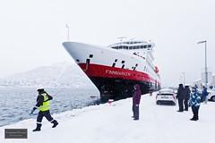 "Hurtigruten ""Finnmarken"" arrives Tromsø (Torbjørn Tiller) Tags: hurtigruten finnmarken tromsø winter snowing tromso arctic ship"