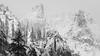 Valley Crest Detail, Yosemite National Park, Winter 2018 (bdrameyphotography) Tags: yosemitenationalpark yosemitevalley california mountains winterlandscape monochrome blackandwhite bw nikond810 snow