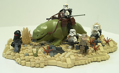 Tales on Tatooine: Hunting For Jedi (Ben Cossy) Tags: lego stormtrooper sandtrooper bush desert tatooine tale star wars rebels moc grand inquisitor dewback sand scifi a new hope empire strikes back return jedi sith imperial rebel scum