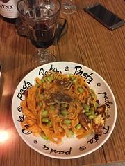 Karin tipsar 20/3 (Atomeyes) Tags: mat pasta tagliatelle vin halloumi sojabönor peppar tomatsås