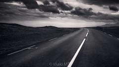 The Road Continues (Iñaki MT) Tags: iceland road highway way blackandwhite dark black landscape whiteandblack horizontal path clouds occidental islandia is