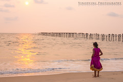 Sunset Girl in Alappuzha Beach (vinodvinc) Tags:
