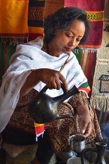 Making traditional coffee in Ethiopia.