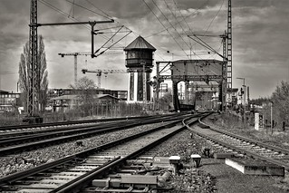 railway water tower and flap bridge