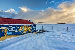 Viking Country (Clint Everett) Tags: landscape country rural iceland farmhouse winter snow sky clouds art mural viking farm