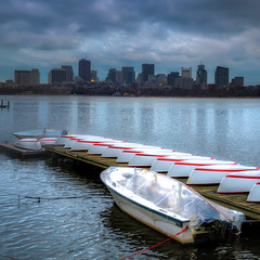 Boats on a Charles River Dock (briburt) Tags: briburt nikon d90 newengland boston skyline cambridge boats dock massachusetts charlesriver river water massachusettsavenuebridge bridge citgo sign citgosign urban cityscape composition symmetry