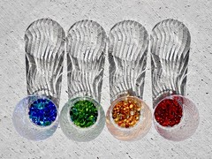 Colors Four (Robert Cowlishaw (Mertonian)) Tags: glass plastic downlooking blue orange red shadows concrete cement concretecanvas canonpowershotg1xmarkiii markiii g1x powershot canon robertcowlishaw mertonian ribbonshadows 4 four colours colors curvyshadows