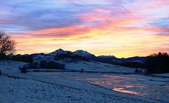 Wenn sich das Abendrot im Teich spiegelt (Gertraud-Magdalena) Tags: winter jänner abendrot abendhimmel teich raggingerteich