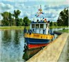 Trent (plismo) Tags: boat tug water trent trentcanal peterborough ontario canada canal plismo sky trees color dock tugboat flags