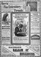 Advertisement for Browns patent dermathistic corset appearing in the Queensland Figaro, 1889 (State Library of Queensland, Australia) Tags: advertising advertisement medicine corsets beautyproducts perfume