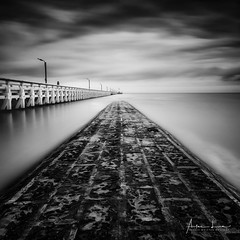 Nieuwpoort Pier I (Alec Lux) Tags: bw beach belgium blackandwhite blackandwhitephotography breakwater coast coastline concrete groyne jetty landscape landscapephotography longexposure longexposurephotography nature naturephotography nieuwpoort ocean pier poles pontoon sand scenic sea seascape seascapephotography sky smooth water waves vlaanderen be