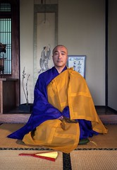Shingon Mikkyo priest (PeterThoeny) Tags: saratoga california siliconvalley sanfranciscobay sanfranciscobayarea southbay hakonegardens japanesegarden japaneseroom window traditionaljapan portrait person priest buddhism buddhistpriest shingon mikkyo mikkyozen sony sonya7 a7 a7ii a7mii alpha7mii ilce7m2 fullframe fe2870mmf3556oss 1xp raw photomatix hdr qualityhdr qualityhdrphotography fav100