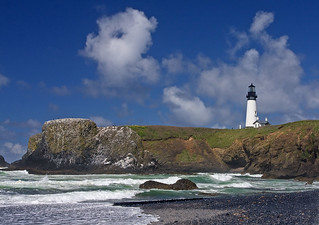 Lighthouse on Oregon's rocky  coast.