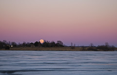 Full Worm Moon 1 (Tiara Rae Photography) Tags: orange moon moonrise sky ice frozen lake full nebraska omaha zorinsky nature landscape lunar worm