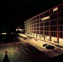 San Jose State University (bior) Tags: sanjose downtownsanjose longexposure night downtown hasselblad500cm distagon lomochromepurple lomography purple lomopurple mediumformat 120 6x6cm sjsu sanjosestateuniversity parkinggarage