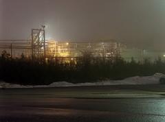 (toulouse goose) Tags: film kodak portra 800 mamiya 645 e 120 sekor 150mm35n mediumformat c41 homedeveloped epson v500 winter night factory foggy