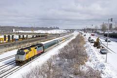 No longer stranded in Churchill (Michael Berry Railfan) Tags: via6402 via65 viarail cowl gmd emd f40ph2 f40ph3 montreal montrealsub quebec train passengertrain winter snow
