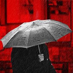 heat mask ll (btrlf6) Tags: monochromatic monocolor monotone monochrome monoart mono blackwhite black blackandwhite white grey red redmask mixedmedia snapseed edit rain rainy umbrella streetphotography streetart street city