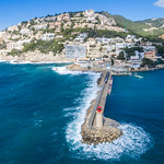 Aerial photography of the lighthouse in Puerto de Andraitx, Mallorca thumbnail