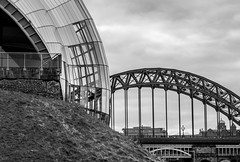 Bridges, Gateshead, Newcastle upon Tyne, North East England, UK. (CWhatPhotos) Tags: cwhatphotos tyne bridge swing tynebridge gateshead olympus penf pen f micro four thirds camera photographs photograph pics pictures pic picture image images foto fotos photography artistic that have which contain newcastle upon river bythe north east england uk span crossing blue water host city day skies buildings clouds