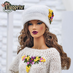 Decisive ITBE in white angora hat and white pullover with embroidery by ELENPRIV (elenpriv) Tags: decisive itbe white angora hat pullover embroidery elenpriv 16inch fashionroyalty jason wu doll handmade clothes elena peredreeva spring melody collection fr16