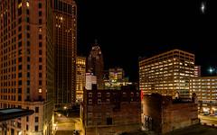 Downtown Detroit Skyline (Victor Dvorak) Tags: detroit michigan downtown buildings architecture city longexposure nightphotography panorama nikon d300s 20mmf28d