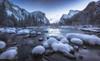 Blue Hour Snow (wandering indian) Tags: yosemite yosemitenationalpark yosemitevalley nps landscape nature snow snowstorm nikon kedardatta sunrise fog clouds california water