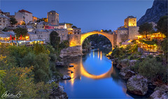 Old Bridge in Mostar, Bosnia i Hercegovina (AdelheidS Photography) Tags: adelheidsphotography adelheidsmitt adelheidspictures bosnia herzegovina bosniaiherzegovina mostar turkish bridge starimost bluehour blue evening lights cityscape canoneos6d canonf4l2470mm town unescoworldheritage neretva river reflection