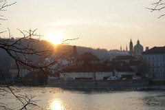 Sunset in Prague (Koutai) Tags: sunset sun sunlight prague nofilter noediting sony sonyalphaa6300 sonyalpha alphaa6300 a6300 city cityscape danube river czechia czech republic europe travel travelphotography travelers day church reflection warm natural light praha