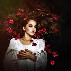 Dreaming in Red (Spoken in Red) Tags: whitegown softportrait redpetals redflowers rosepetals fantasyportrait fineartportraitphotography square lightleak beautifulgirl dreaming conceptualportrait youngwoman youth beauty spokeninred