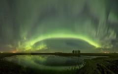 "Beiseker April 22 Panorama ""Explored"" #6 March 14 2018 (John Andersen (JPAndersen images)) Tags: alberta aurora farm granary night pond prairie sky spring"